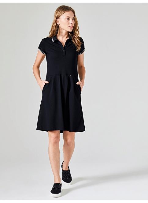 Xint Polo Yaka Kloş Cepli Elbise Siyah